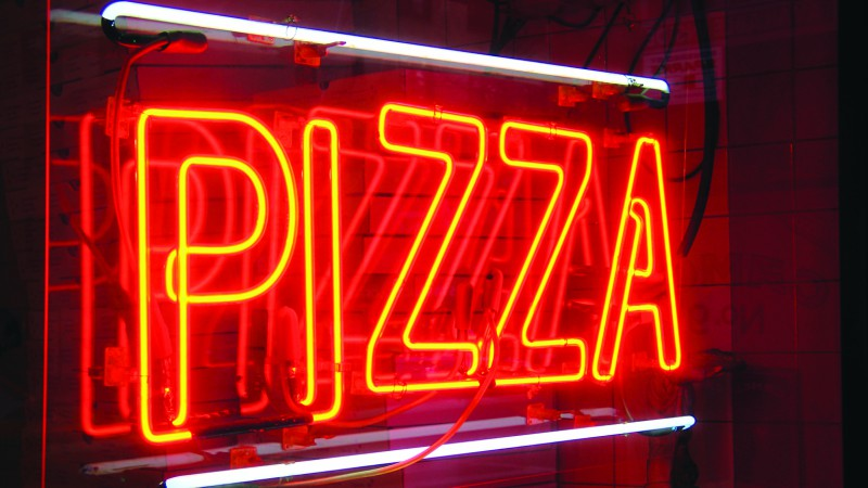 New York neon pizza sign