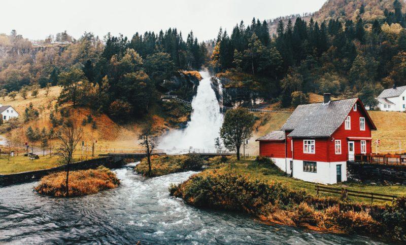 Norway nature Steinsdalsfossen waterfall
