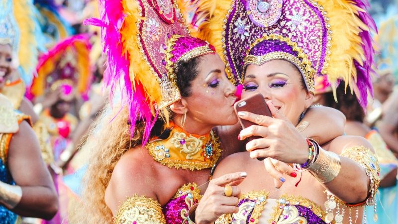 Two performers in Rio take a selfie