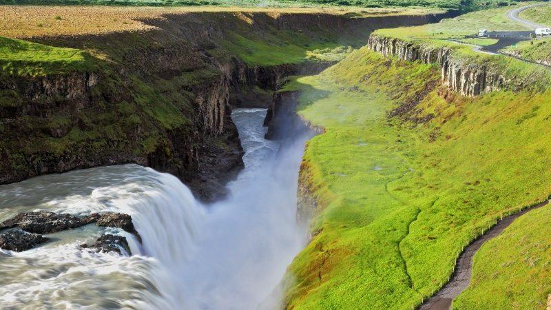 Gullfoss Falls during the summer months