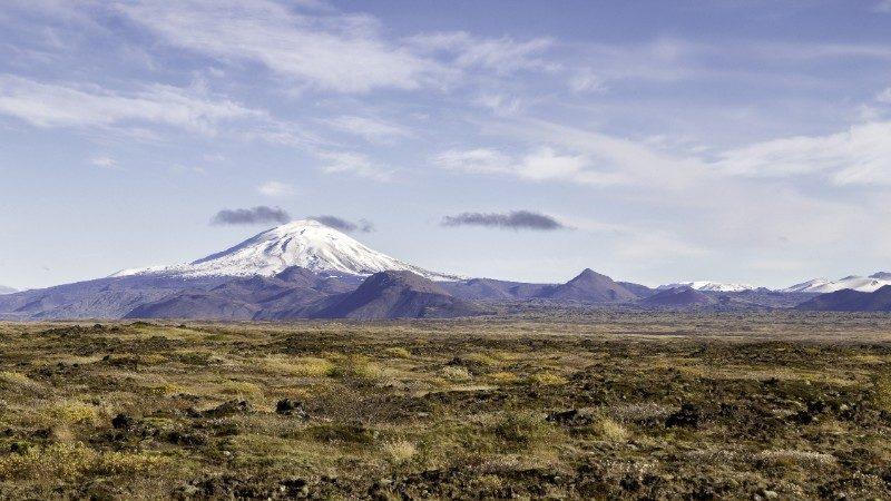 Hekla volcano, covered in snow, in Iceland