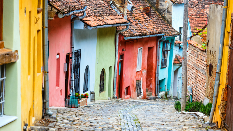 Colourful streets of Sighisoara
