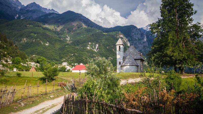An old church in a mountain setting in Albania