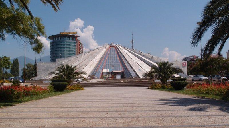 Pyramid-shaped building in Tirana, Albania