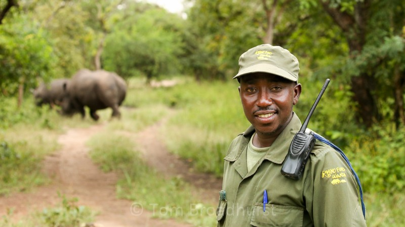 Guide Robert and a rhinoceros