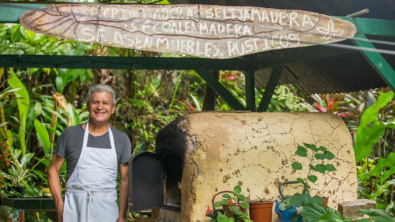 Local man cooking in Santa Rosa de Pocosol, Costa Rica
