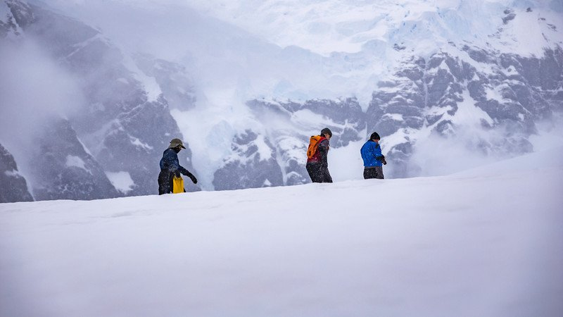 Three travellers in Antarctica