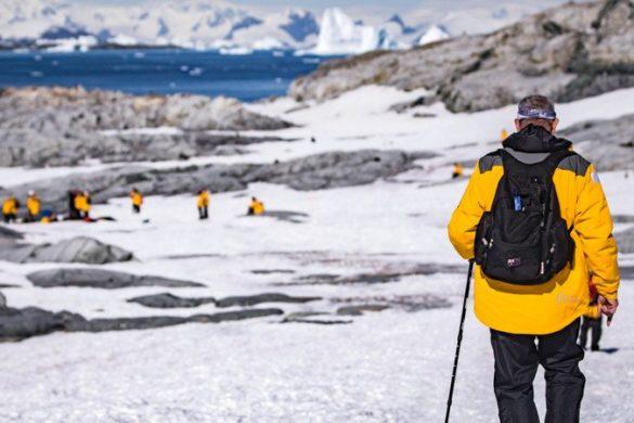 Travellers explore Petermann Island