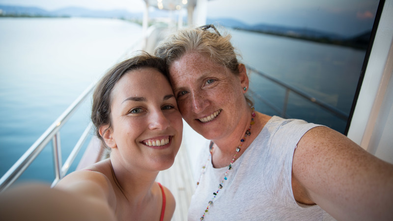 Two travellers take a selfie on the boat