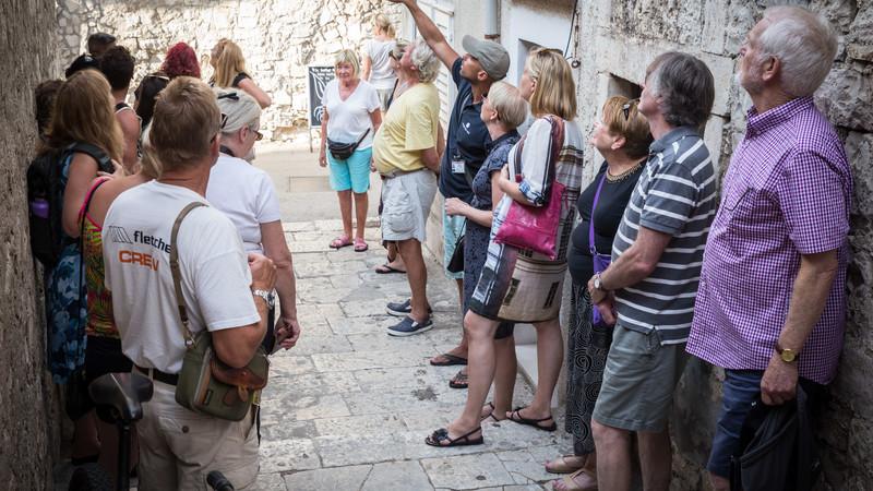 Travellers touring Korcula, Croatia