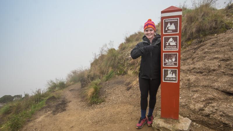 Female traveller on Dead Woman's Pass