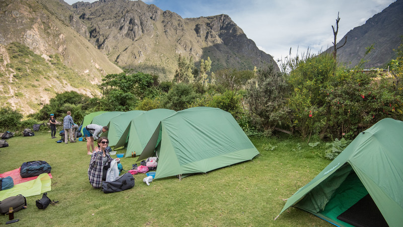 A row of tents on the Inca Trail