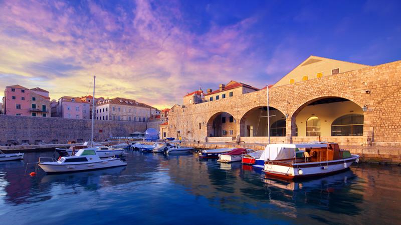 Boats docked in Dubrovnik, Croatia