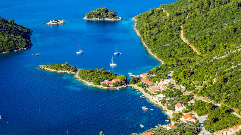 Aerial view of Mljet, Croatia