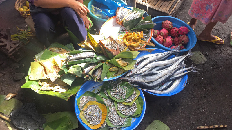 Plates of fish in Lombok