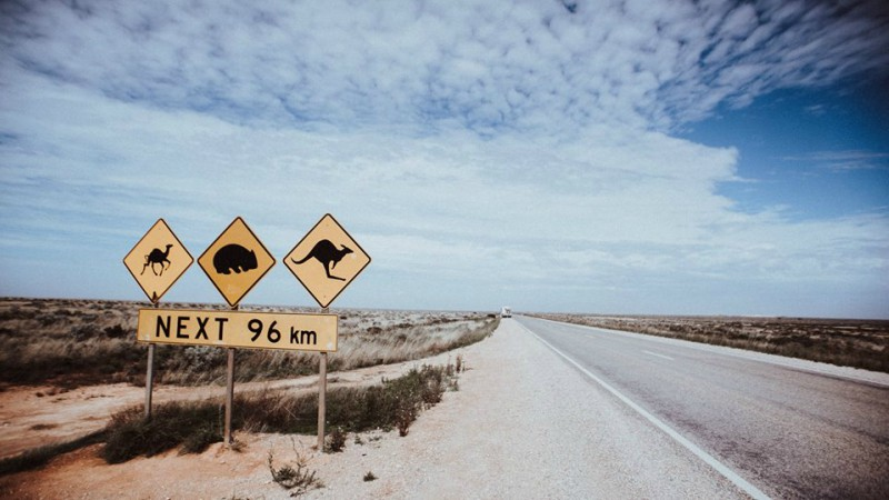 Road signs in the Australian Outback