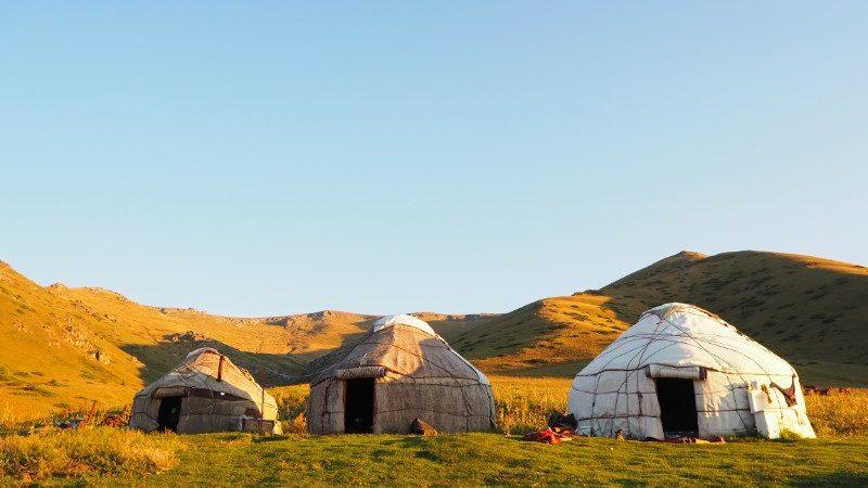Three yurts near Son Kul