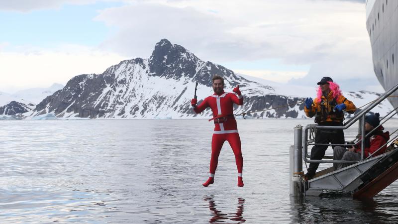 A man in a santa costume