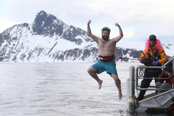 A passenger takes the polar plunge