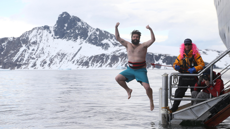 A passenger takes the polar plunge
