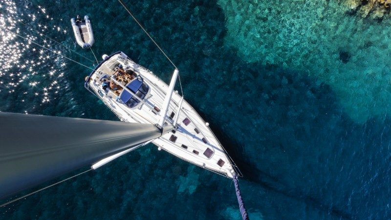 Aerial view of a sailing ship in Croatia