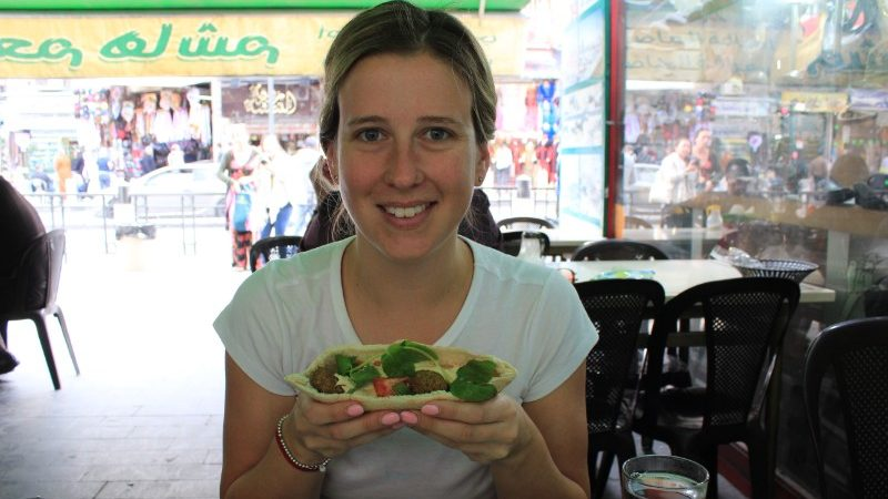 eating falafel at Hashem