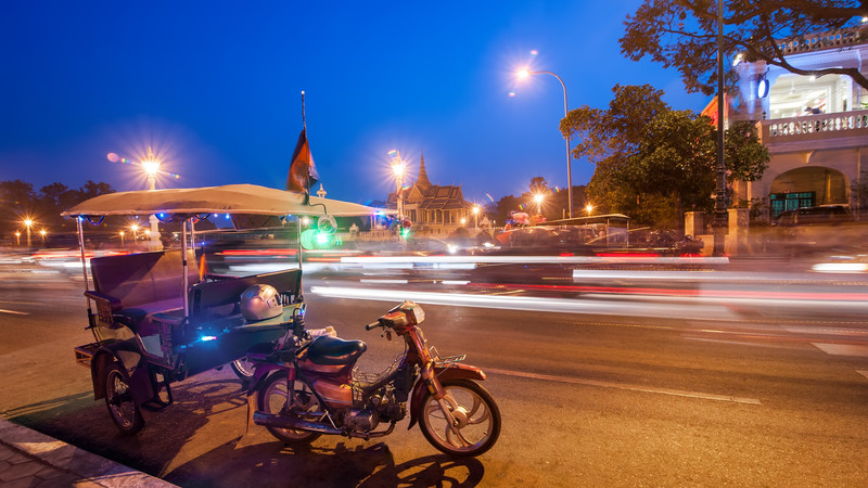 A tuk tuk in Phnom Penh, Cambodia