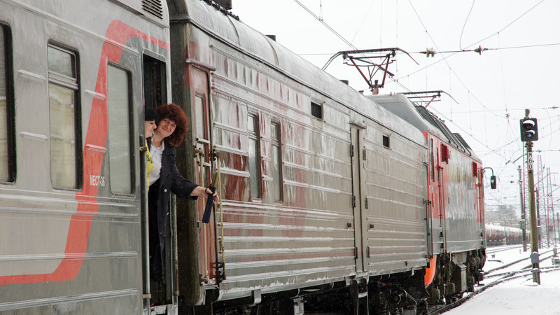 Train attendant on the Trans-Siberian
