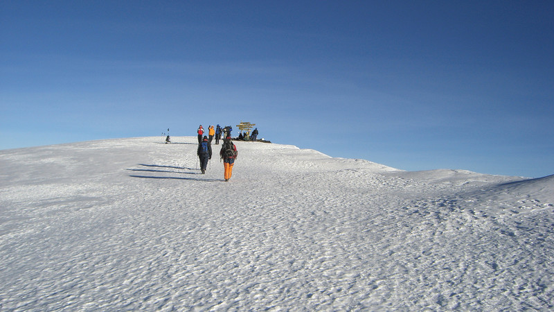 Hikers on Mt Kilimanjaro, Tanzania