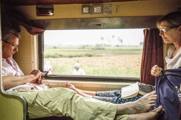 Two travellers on the overnight train in India