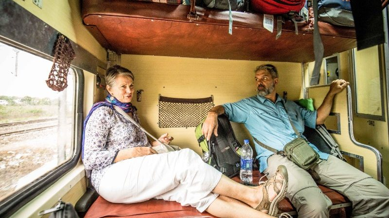 Two travellers on the India overnight train