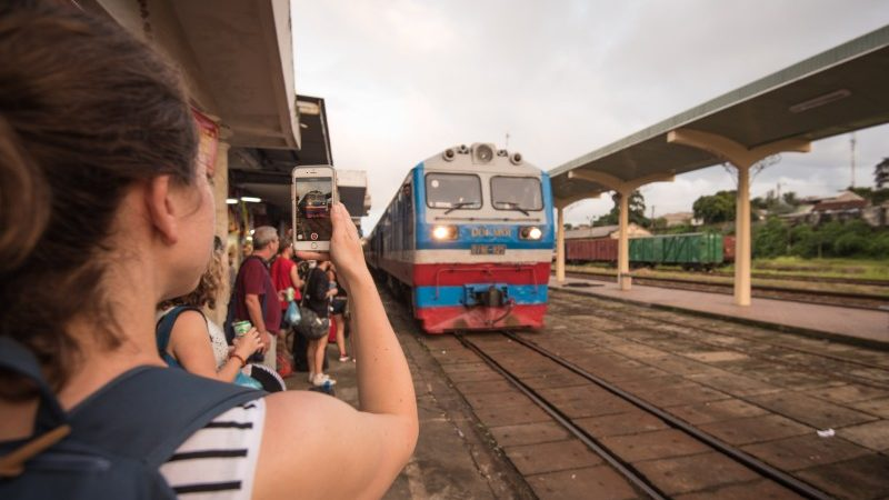 Overnight train arriving at Hue