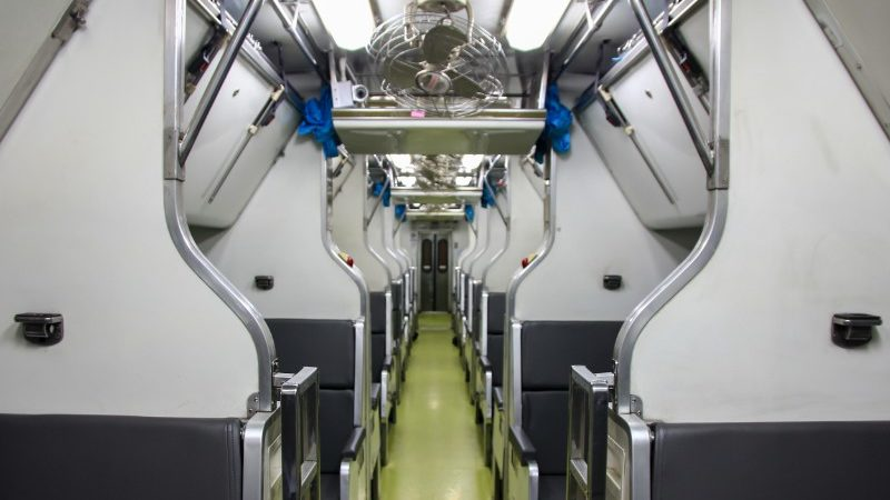 Interior of the overnight train in Thailand