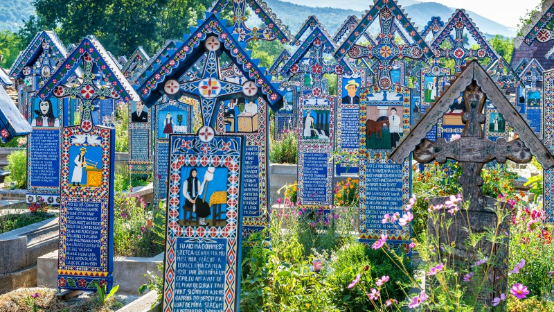 Commemorative crosses in the Merry Cemetery, Romania