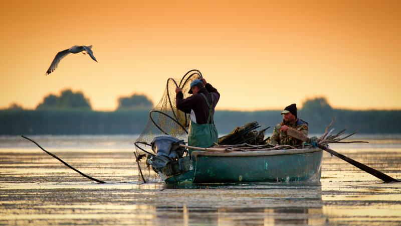 Traditional fisherman on the Danube Delta in Romania