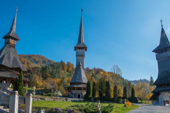 Beautiful views of the Barsana Monastery in Maramures, Romania