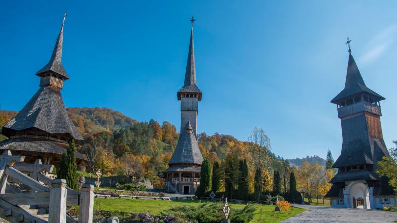 Beautiful views of the Barsana Monastery in Maramures, Romania