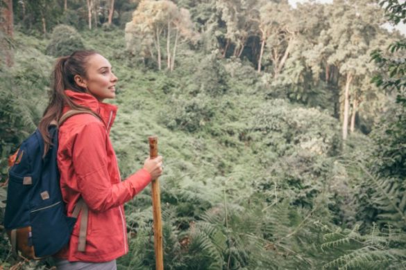 Tayla hiking in Uganda