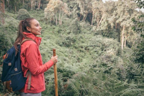 Tayla hiking in Uganda