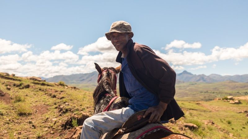 A man horseriding in Lesotho