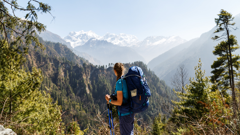 A hiker looking out at Manaslu Peak on the Annapurna Circuit