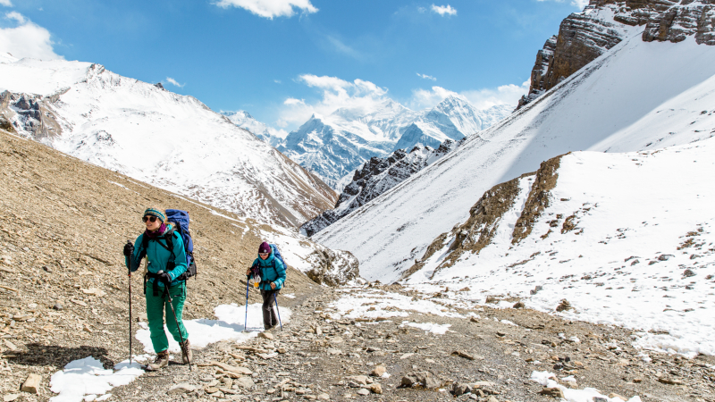 Two female hikers taking on the Annapurna Circuit