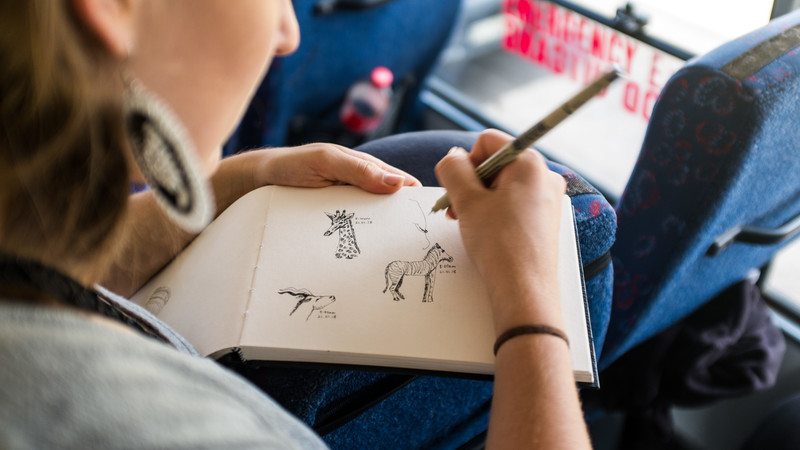 A traveller sketches wild animals in Africa
