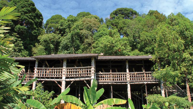 Iban longhouse, Borneo