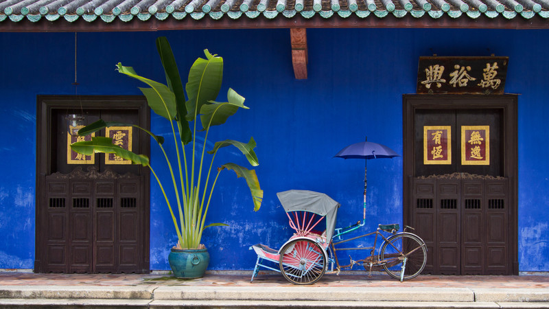 Blue house in Penang, Malaysia