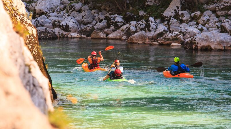 A group of kayakers in Slovenia
