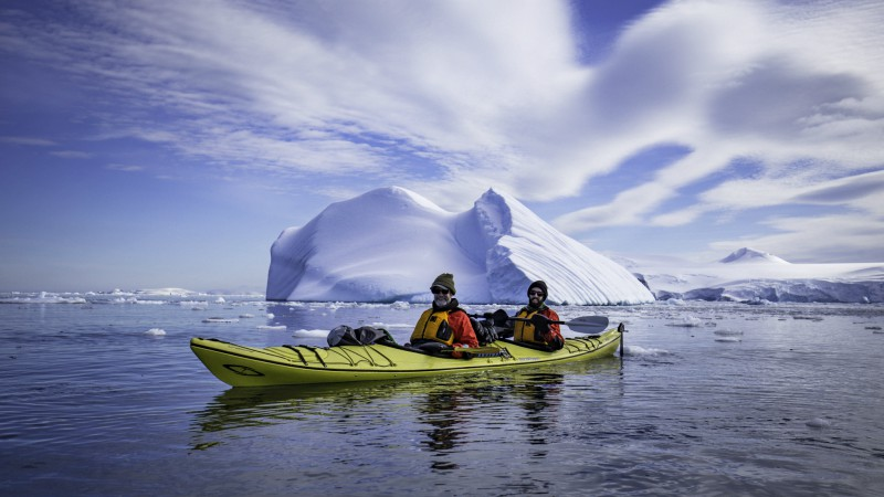 Kayakers in Cierva Cove, Antarctica