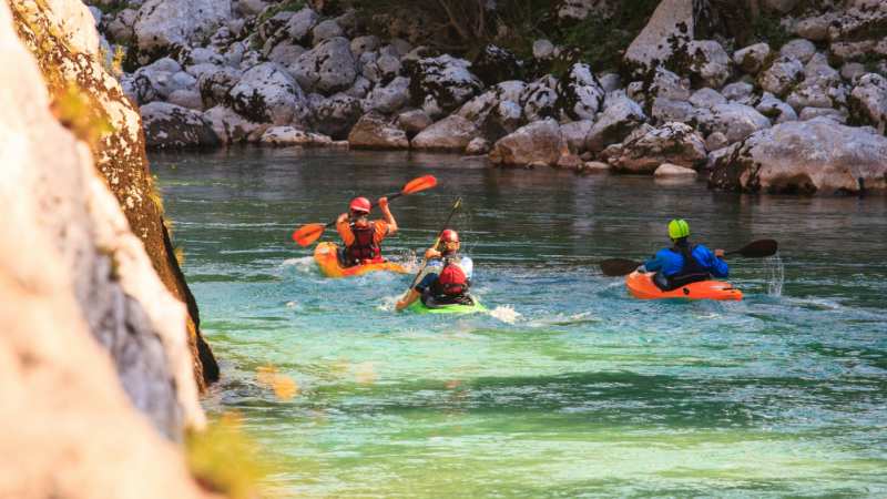 Group of kayakers on the Soca River, Slovenia