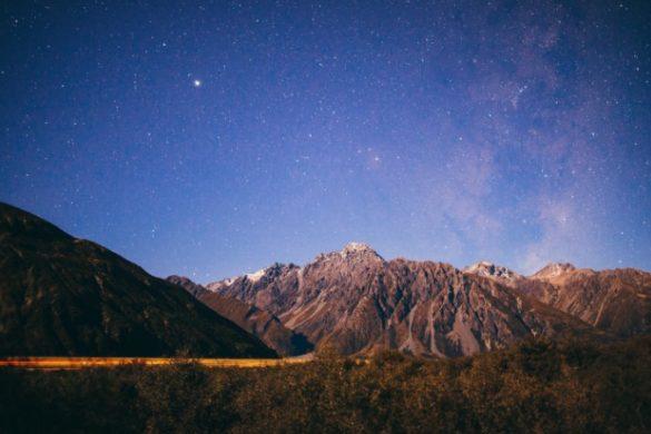 Stars above Mount Cook at dusk
