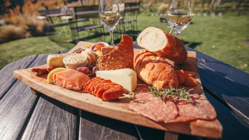 Food platter on table in Gibbston Valley NZ
